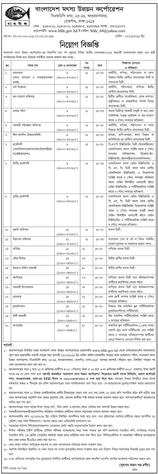 Bangladesh Fisheries Developmemt Corporation (BFDC) Job Circular 2019