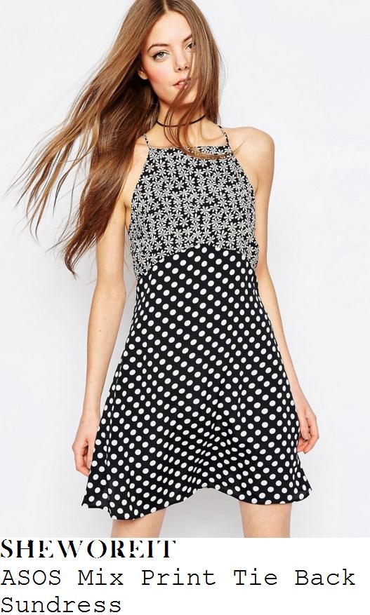 emily-ratajkowski-asos-black-and-white-mix-floral-and-spot-print-tie-back-sundress