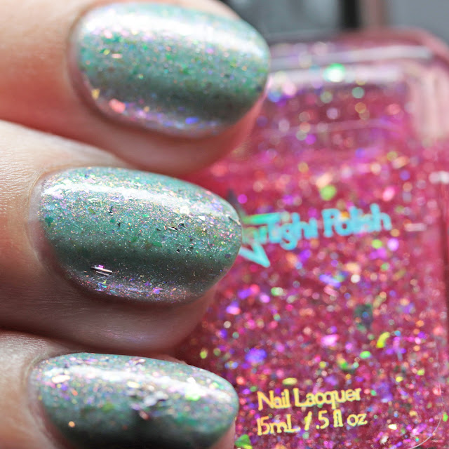 Starlight Polish Truly Outrageous! over Lollipop Posse Lacquer A Person of Substance