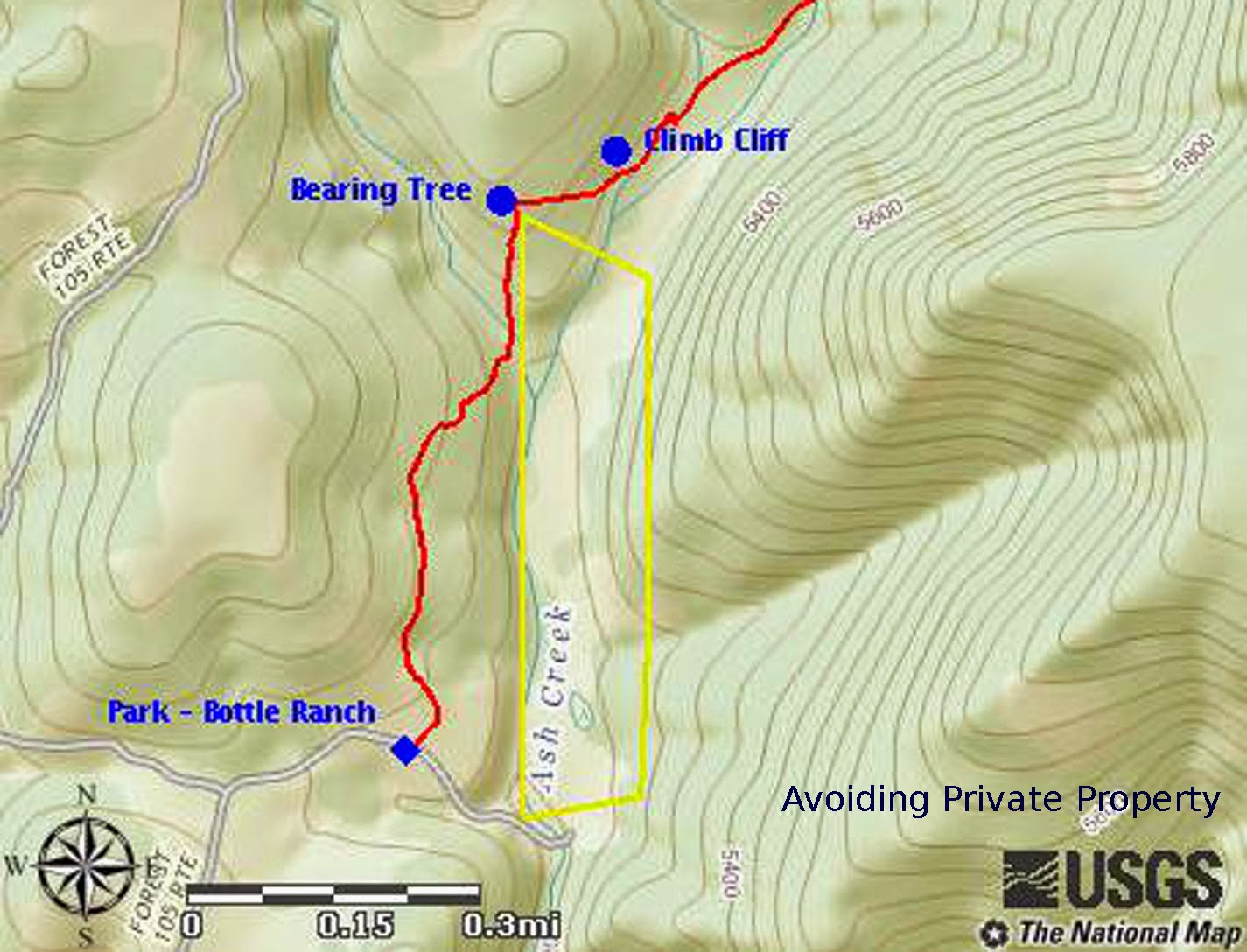 the below map shows our track in red and the outline of the private property at bottle ranch in yellow