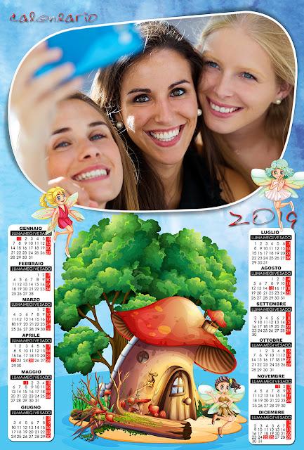Calendario psd a livelli separati 2019