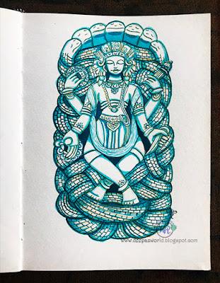 Lord-Vishnu-Yoganidra-Inktober2018-HuesnShades