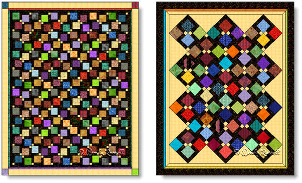 Quilts designed using the DISAPPEARING NINE PATCH quilt block - imagex © Wendy Russell