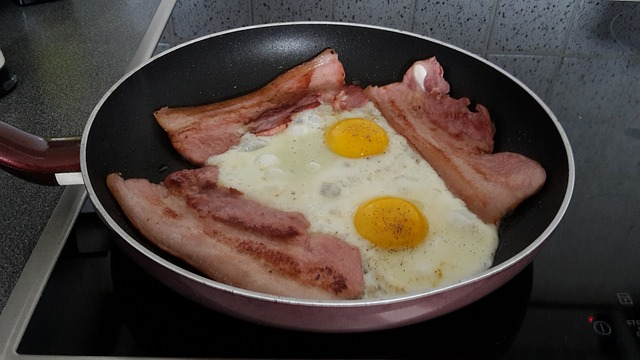 Skillet of Bacon and Fried Eggs