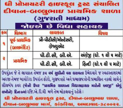 Diwan Ballubhai Primary School Recrutement 2016