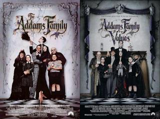pósters de las películas de fantasía La familia Addams 1 y 2