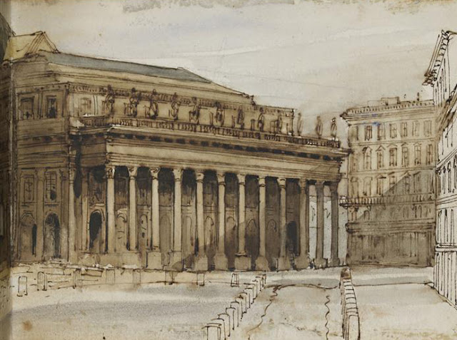Adrien Dauzats - Vue de Bordeaux. le grand théâtre - 1832 - Paris - Louvre.