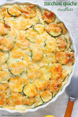 Crustless Zucchini Quiche from A Treats Affair, featured for Low-Carb Recipe Love on Fridays  on KalynsKitchen.com