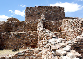 Tuzigoot National Monument is a remnant of a Southern Sinagua village that was built between 1125 and 1400 CE. It rises one hundred twenty feet above the Verde Valley. The original pueblo is believed to have been two stories high in places and boasted seventy-seven ground-floor rooms.