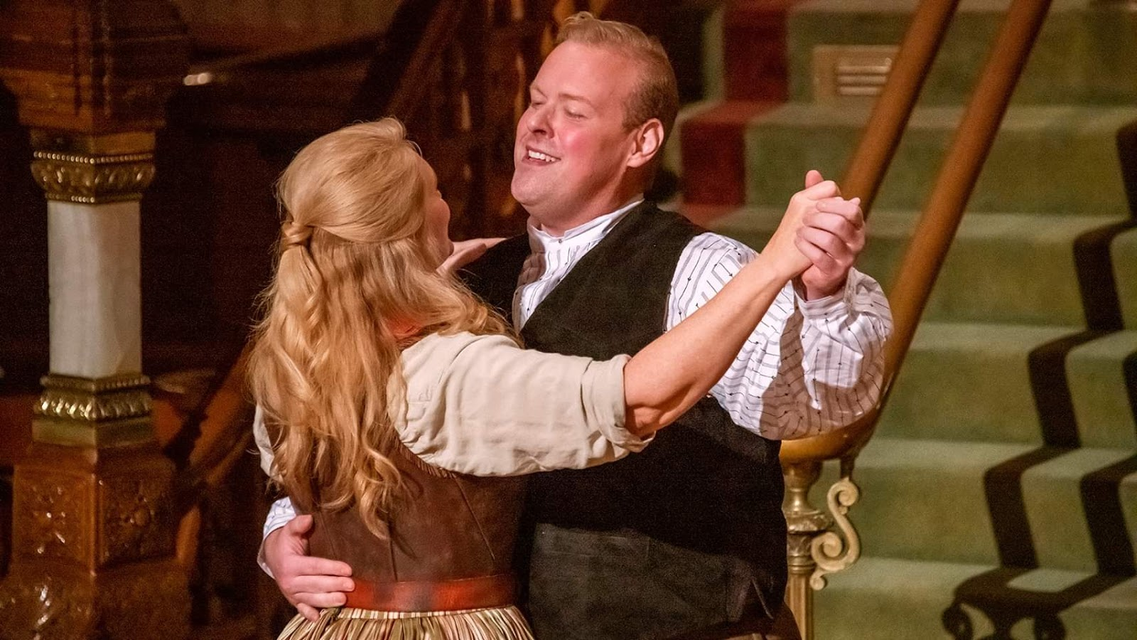 IN REVIEW: soprano AMY COFIELD as Minnie (left) and tenor BEN GULLEY as Johnson (right) in Opera Orlando's February 2020 Opera on the Town production of Giacomo Puccini's LA FANCIULLA DEL WEST [Photograph by Brion Price Photography, © by Opera Orlando]