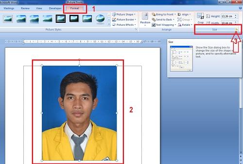 Cara Membuat Foto Ukuran 2x3 3x4 Dan 4x6 Pada Ms Word Info Guru