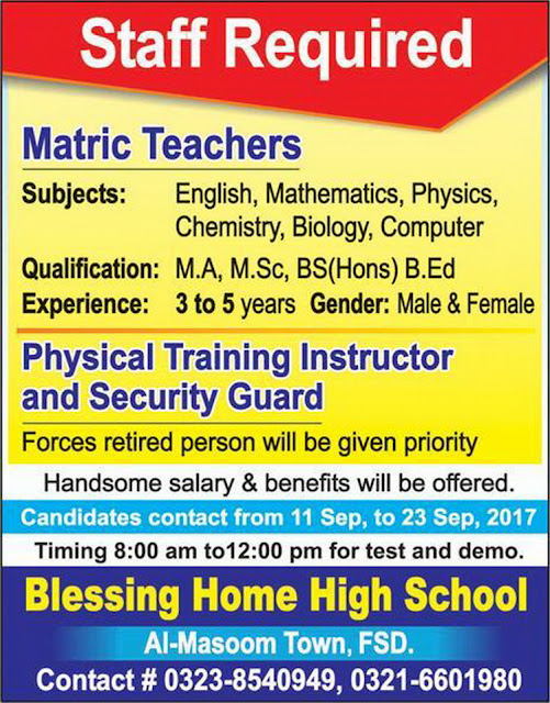 Blessing Home High School Jobs in Faisalabad 2017