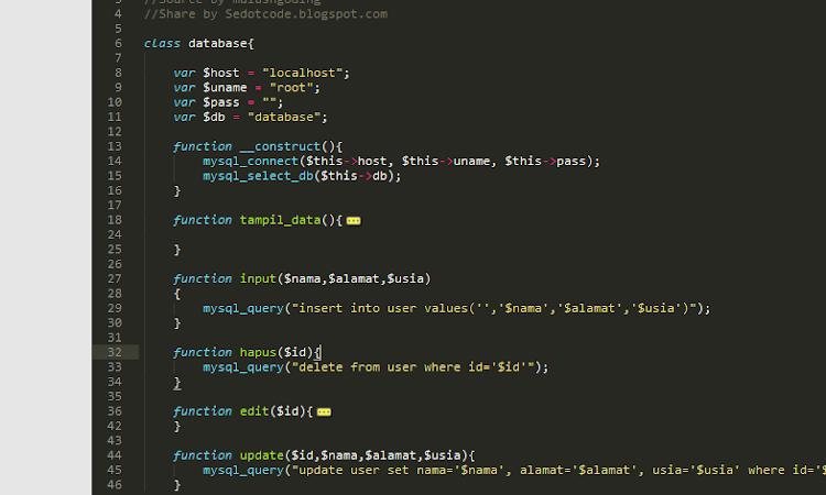 Source Code CRUD OOP php Sederhana Simple