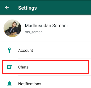 click on 'chats' - hide WhatsApp media -3
