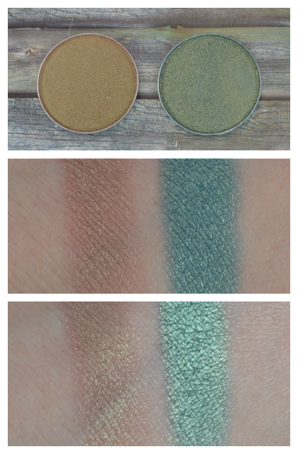 Makeup Geek duochrome eyeshadows ritzy, typhoon Swatches