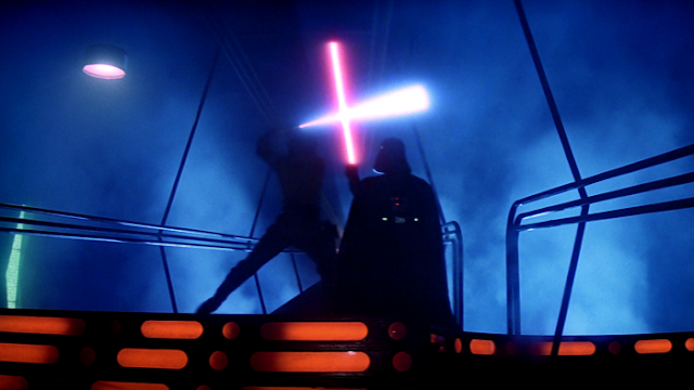 Luke and Darth Vader's light sabre duel in The Empire Strikes Back
