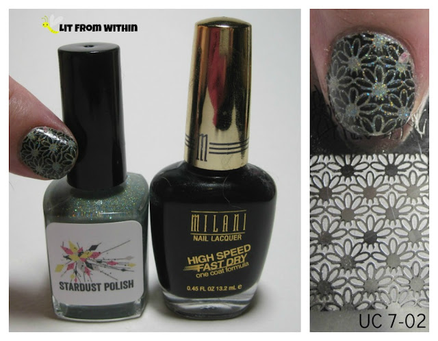 What I used:  Stardust Polish Suddenly Seymour, and Milani Black Swift with plate UC 7-02 for the stamp.