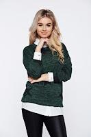 Pulover PrettyGirl verde-inchis cu print casual tricotat cu croi larg • PrettyGirl