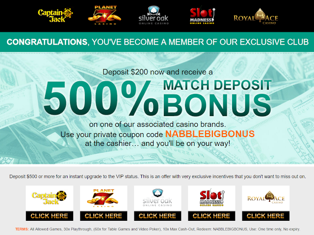 NABBLEBIGBONUS Exclusive Bonus Code | RTG Casinos | USA OK