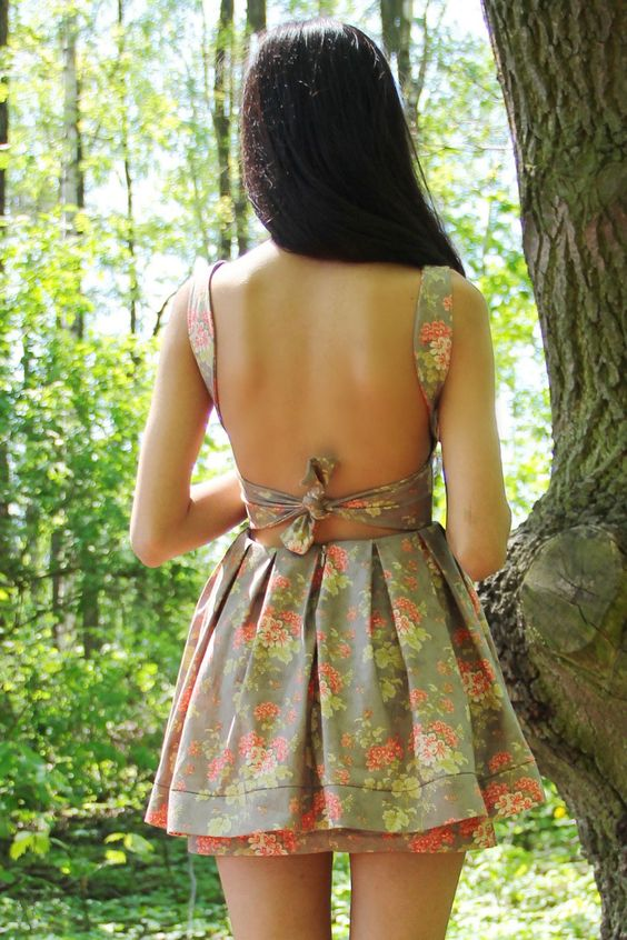 Backless Beautiful Floral Mini Dress