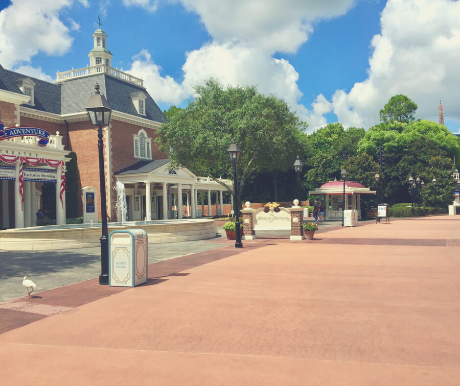 The America pavilion in World Showcase, Epcot, Walt Disney World with no crowds