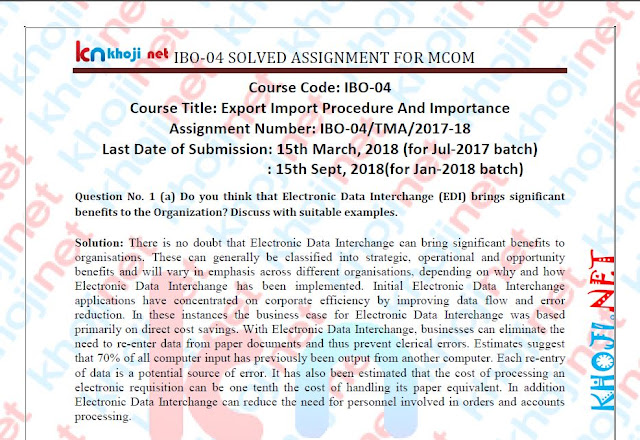 IBO-04 Solved Assignment For IGNOU MCOM 1st Year 2017-18