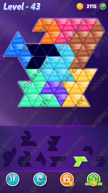 Block! Triangle Puzzle 9 Mania Level 43 Solution, Cheats, Walkthrough for Android, iPhone, iPad and iPod