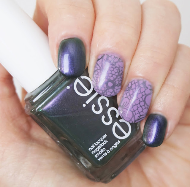 Essie - for the twill of it, Essie - bond with whomever, Born Pretty - Stamping Platte BPL-030, Nail Art, Flowers