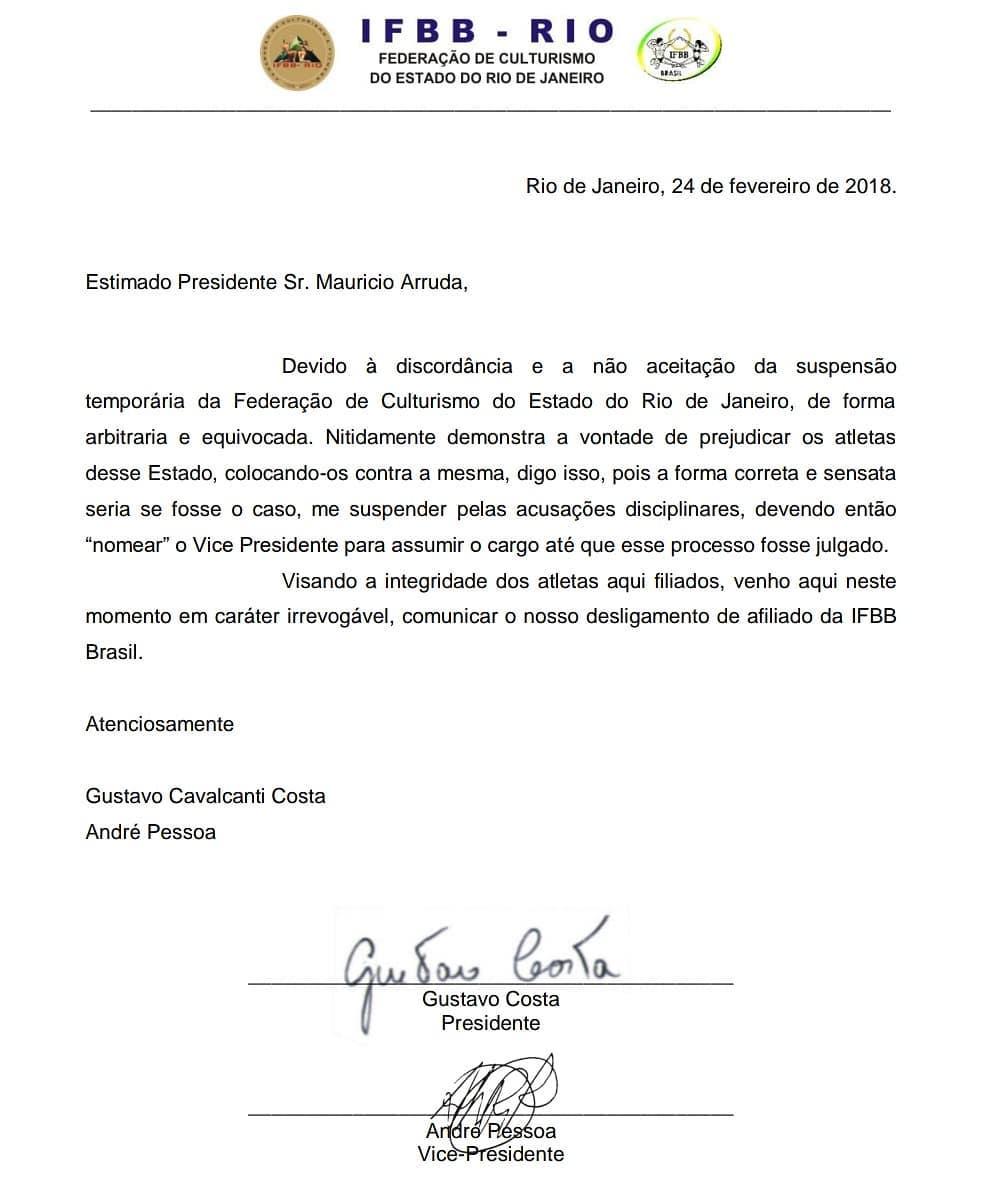 Carta que comunica desligamento de afiliação da IFBB-RIO a IFBB Brasil. Foto: Reprodução
