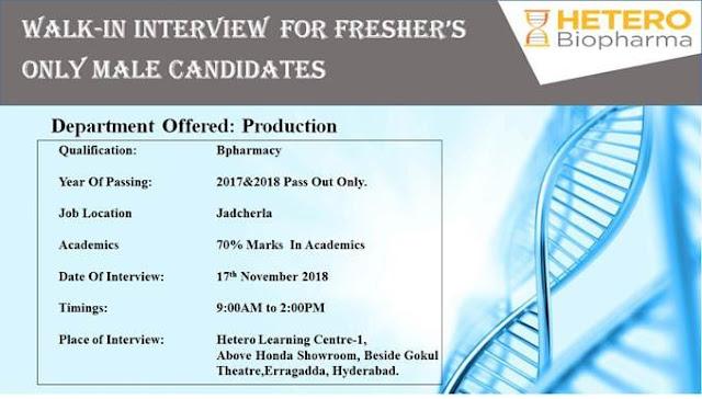 HETERO Biopharma Walk In For Freshers at 17 November