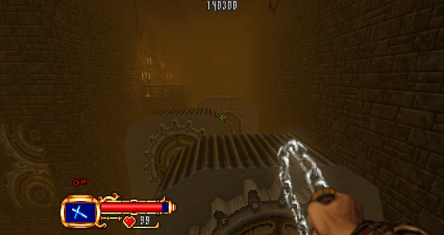 The last level features risky platforming with conveyor belts over a bottomless pit!