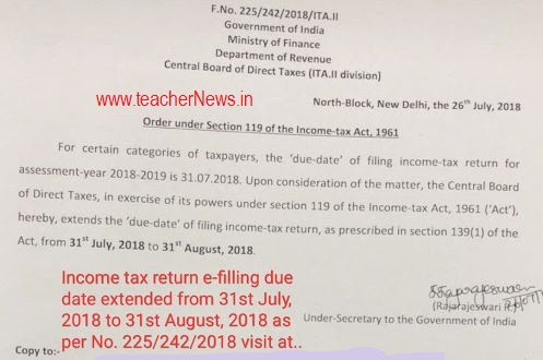 Income Tax Return e Filing Extended Date on 31st August 2018