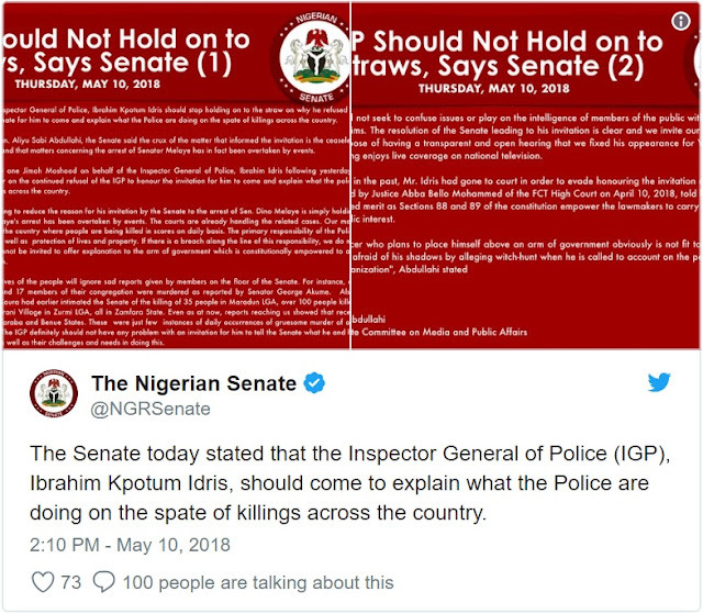 Senate issues fresh summons to IG over spates of killings