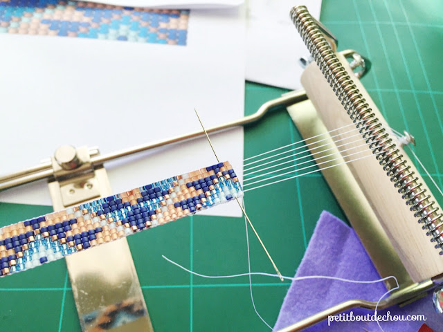 hide your thread in the bead work