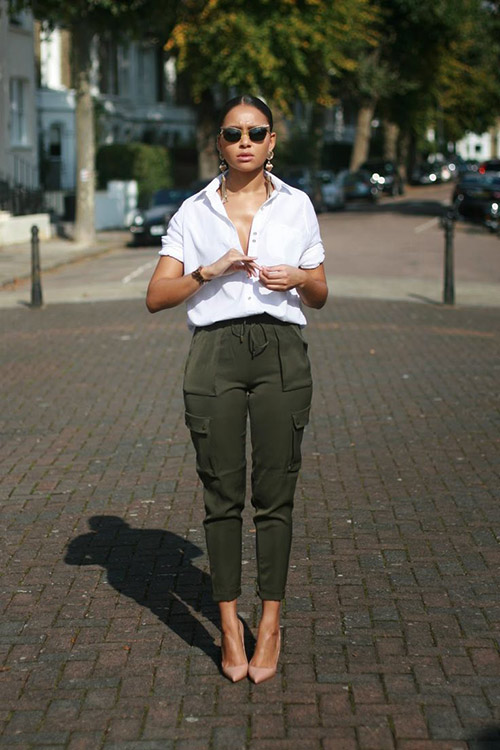 fall style inspiration, cargo pants, street style, statement jewelry