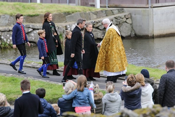 Crown Prince Frederik, Crown Princess Mary, Prince Christian, Princess Isabella, Princess Josephine and Prince Vincent visited Sandavági