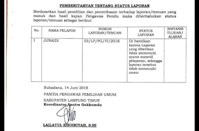 "Panwaslu Lampung Timur Hentikan Pengaduan Masalah Kampanye ""Mata Sipit"""