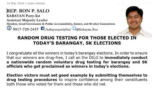 RANDOM DRUG TESTING FOR THOSE ELECTED TODAY'S BARANGAY, SK ELECTIONS