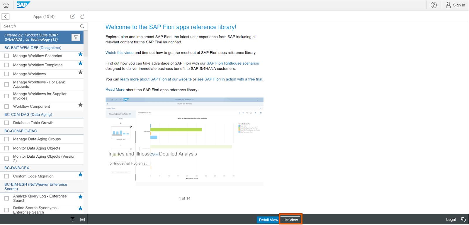 SAP ABAP Central: Predefined Virtual Data Model as example