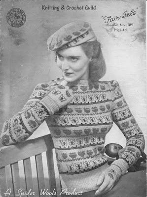1940s vintage knitting pattern; Fair Isle; woman's jumper, beret & gloves