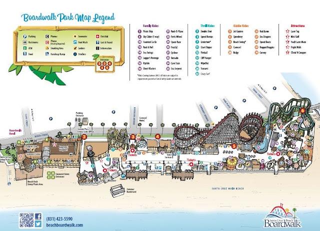 Mapa do parque de Santa Cruz na Califórnia