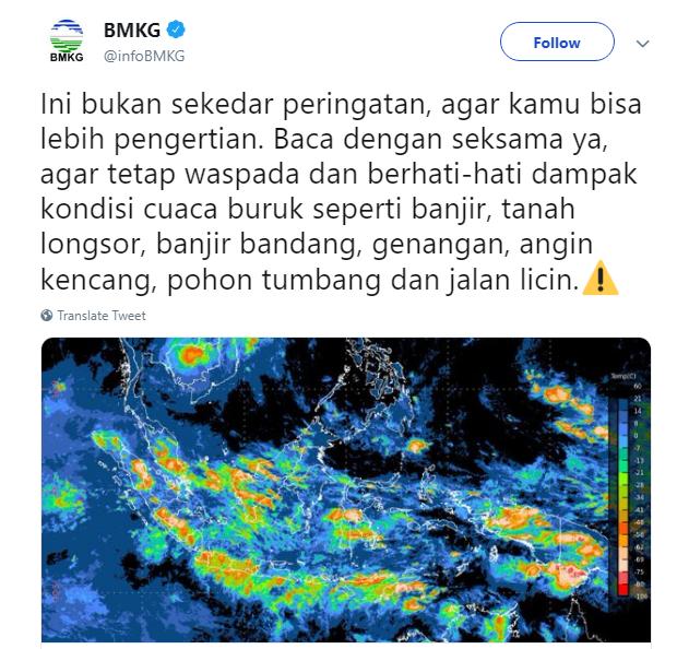 Peringatan Dini BMKG, Waspada Cuaca Ekstrim Berdampak Banjir di Wilayah Jawa dan Sumatra
