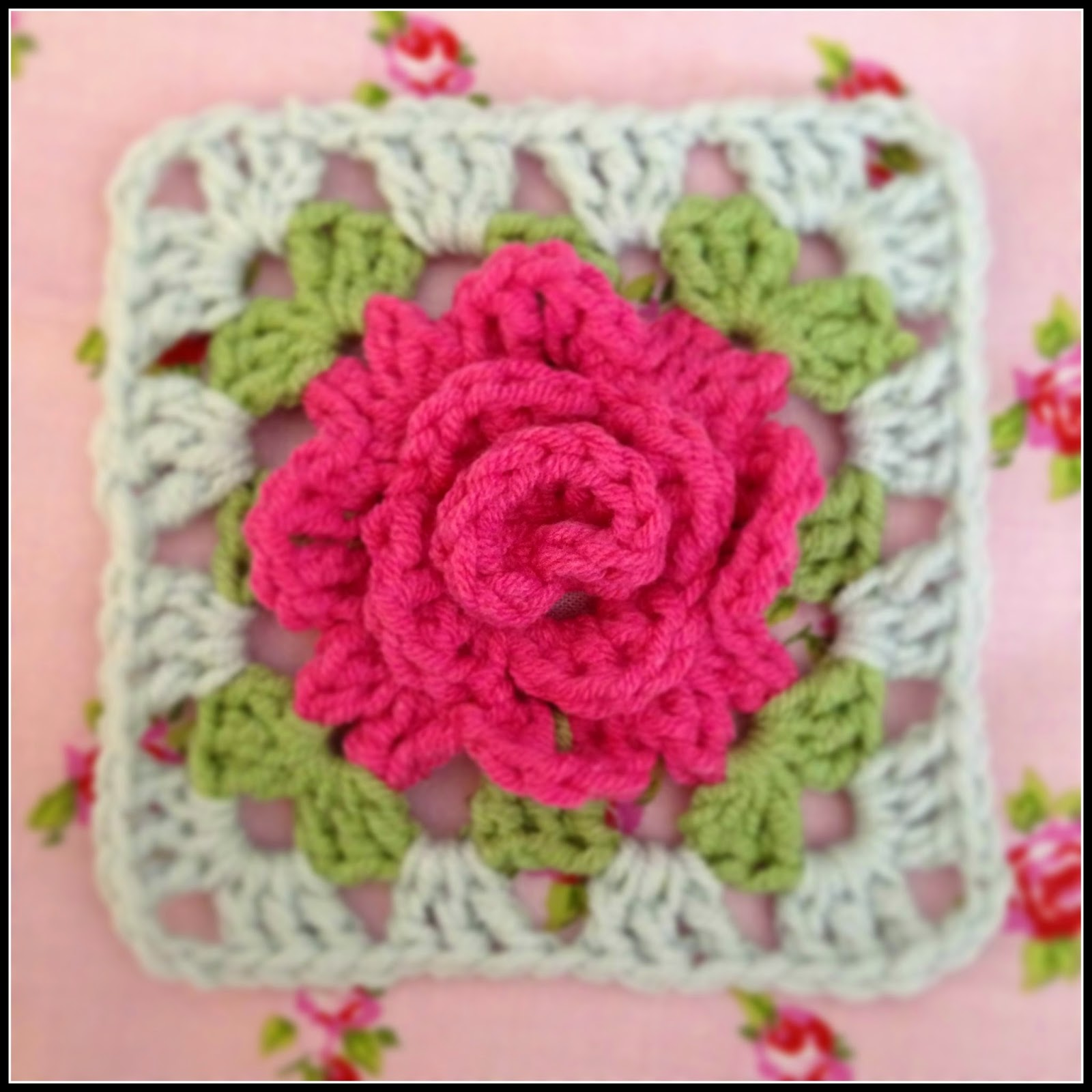 Crochet Rose Pattern Granny Square : Thimbles and Rings