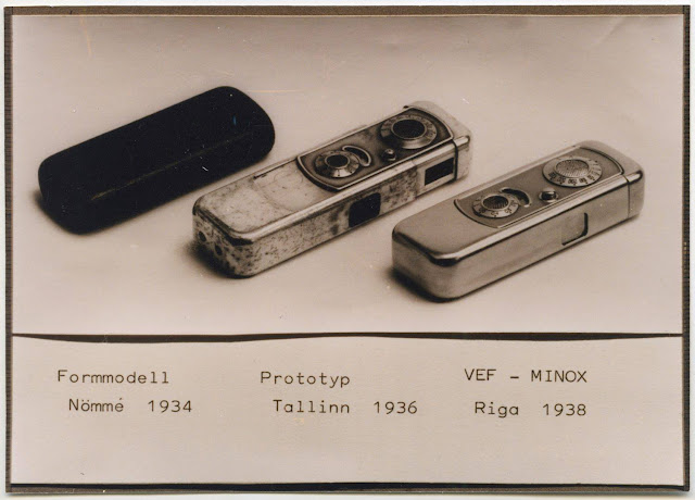 """Minox"" camera prototype and ""VEF Minox"". Reproduced by Pēteris Korsaks in 2000. Original from 1938-1940."