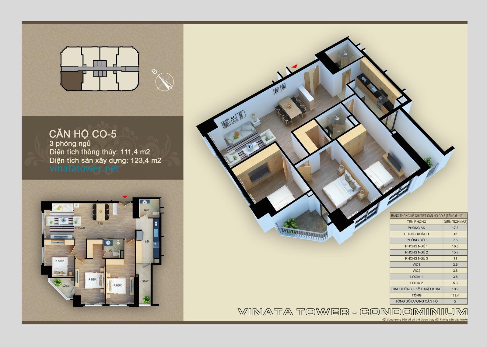 Thiết kế chi tiết căn 05 chung cư Vinata Towers: 11,4m2, 3PN, 2VS