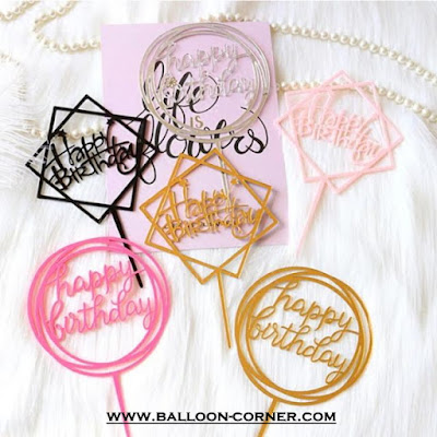 Cake Topper Acrylic HAPPY BIRTHDAY (MURAH)