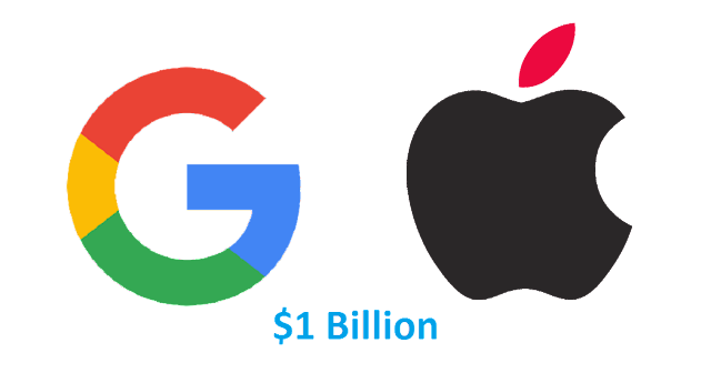According to the Bloomberg, Google Inc. paid Apple Inc. $1 billion in 2014 to keep search bar as a default search engine on all iDevices.