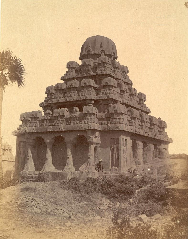 General view from the south-west of the Dharmaraja Ratha, Mamallapuram, Tamil Nadu - c.1885