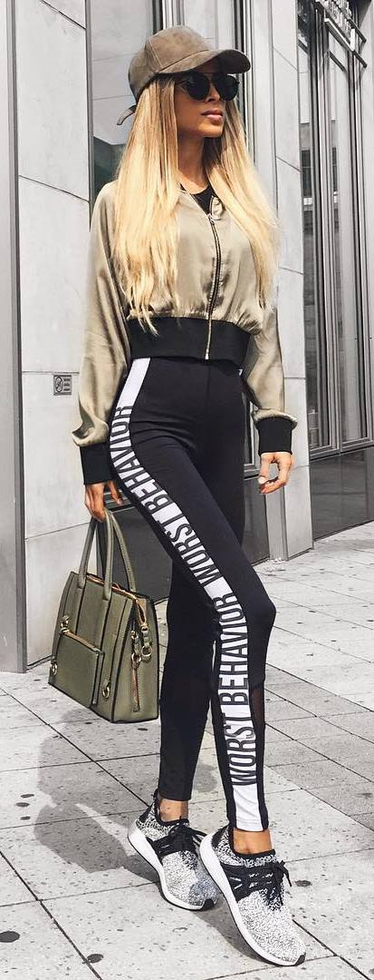 fall sporty style inspiration / hat + bomber + bag + leggings + sneakers