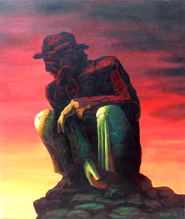 Meditação - Ileana Cerato e seu surrealismo nostálgico ~ Pintor argentino